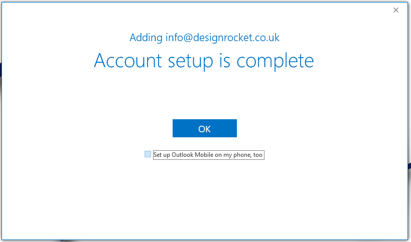 Step 3 - Account Setup Complete